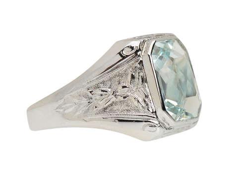 Art Deco Aquamarine & White Gold Unisex Ring