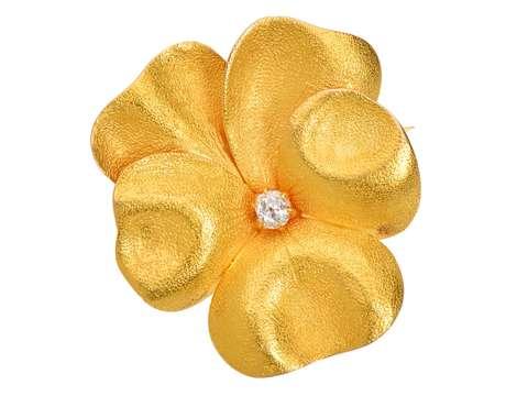 Edwardian Gold Pansy Flower Brooch