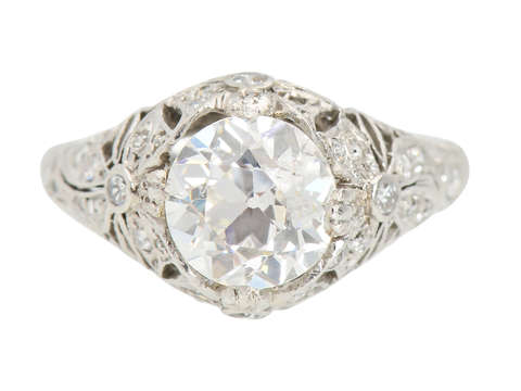 Diamond Engagement Ring - 1.64 Carat Center GIA