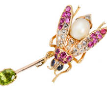 Antique Russian Ruby, Diamond & Gem Fly Brooch