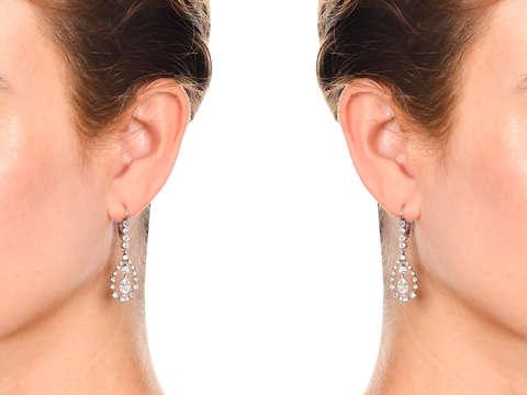 Edwardian Teardrop Diamond Platinum Earrings