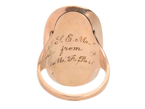 Georgian Memorial Hair & Enamel Locket Ring of 1799