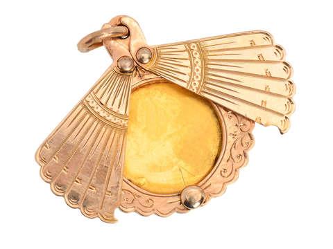 Secret History - Fan Shaped Locket of Gold