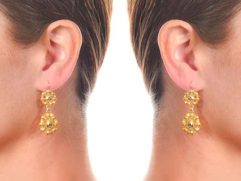 Antigo Jóia - Georgian Iberian Diamond Earrings