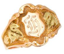 Gender Neutral Rose & Green Gold Signet Ring