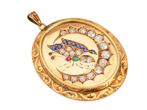 Butterfly Crescent Moon Diamond Gem Pendant