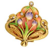 Krementz Scarce Enamel Swans & Flowers Brooch