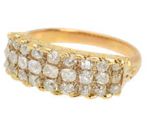 Three Row Old Mine Cut Diamond Ring