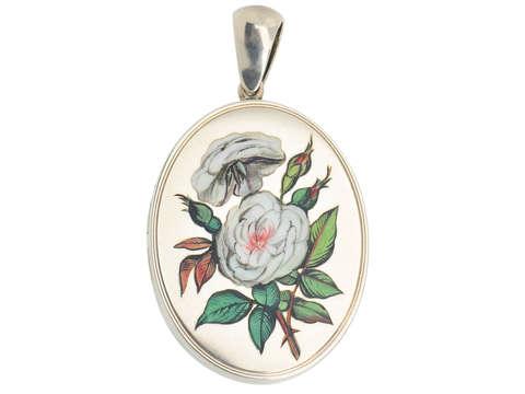 The White Rose - Victorian Enamel Silver Locket