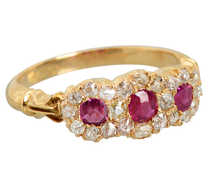 Antique Red Ruby Diamond Cluster Ring