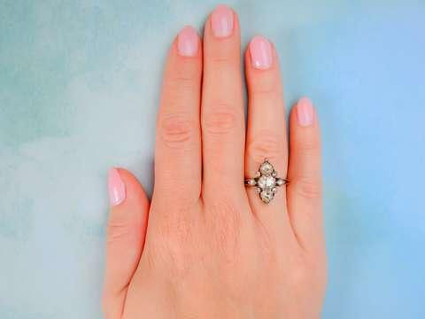 Antique Rose Cut Diamond Navette Ring
