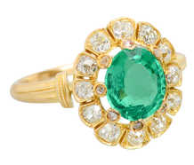 Victorian Colombian Emerald & Old Mine Diamond Ring