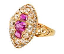Victorian Natural Ruby Diamond Navette Ring