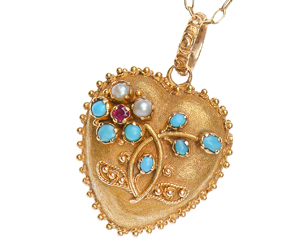 Georgian Antique Gold Heart Locket Flowers