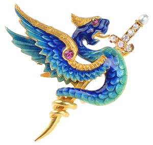 Riker Brothers Dragon Brooch