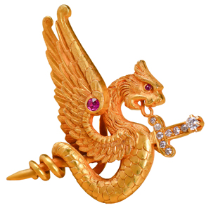 Antique Dragon Brooch Riker Bros.