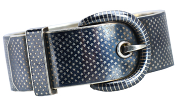 Victorian Niello Buckle Bracelet with Stars